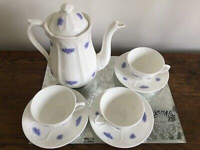 Antique Adderley Blue Chelsea Embossed  3 Cups  + Saucers Plus Coffee Pot • 25£