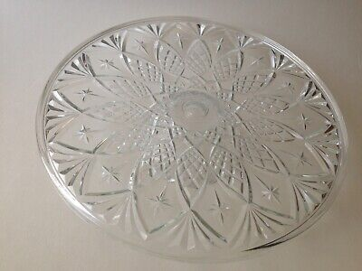 Lovely Vintage VMC French Glass Footed Cake Platter 11./34  Dia • 9.99£