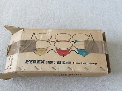 Vintage Pyrex Baking Set Ramekins bowls With Stand And Box • 46£