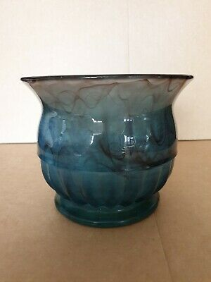 Vintage Davidsons Cloudy Blue Glass Part Ribbed Vase With Matching Flower Frog • 35£