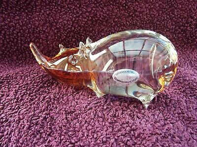 Wedgwood Clear And Topaz Very Rare Glass Animal Rhino Paperweight 1970's • 69.99£