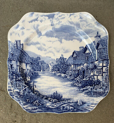 Johnson Bros Olde English Countryside Square Plate 25cm Blue And White  • 5£