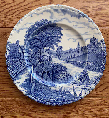 """Myott Son & Co Englands Charm Plate 8"""" Blue And White • 4£"""