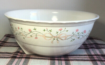 JOHNSON BROTHERS ETERNAL BEAU Large Melamine Mixing Bowl Vintage Floral Ribbon • 15£