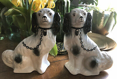 Pair Of Vintage Staffordshire Dog In Cream And Black H23xw21xD8cm • 7.50£