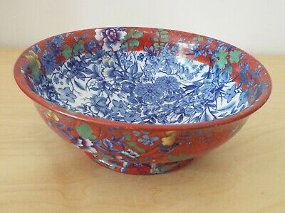 9  CAULDON Bowl In Frederick Rhead Red Chinese Blossom Blue & White Pattern • 29.99£