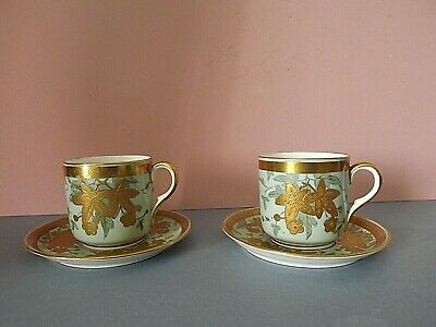2 Vintage Gold Encrusted Coffee Cups & Saucers ~ Heinrich & Co • 9.99£