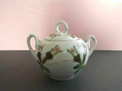 Vintage Hand Painted Twin Handled Lidded Sugar Bowl • 10£