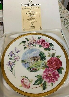 Royal Doulton Plate Camellia Chatsworth House  Floral Collection Large Box +cert • 17.99£