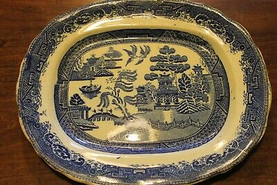 Vintage Platter Willow Pattern Blue And White • 8£