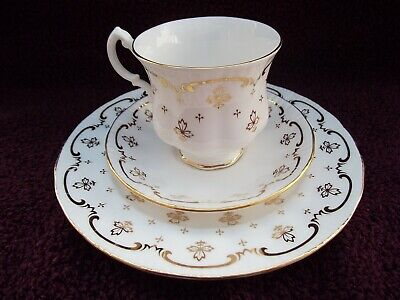 Royal Osborne Bone China Trio, Cup, Saucer And Large Tea Plate Gold On White. • 14.99£