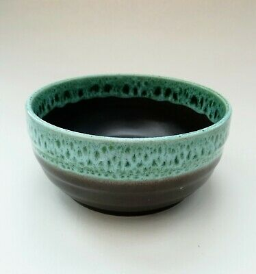 Brown & Mint Green Honeycomb Vintage Pottery Ceramic Decorative Bowl • 9.99£