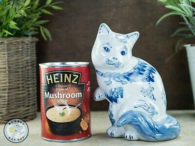 Vintage Porcelain Blue White Chinese Lucky Cat Ornament • 19.95£