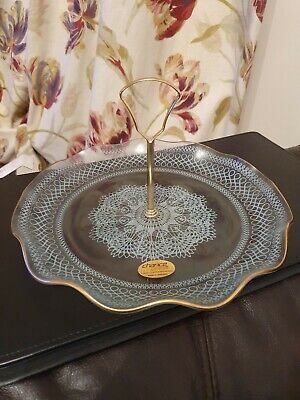 Vintage Chance Glass Single Tier Cake Stand With Handle Boxed • 8£