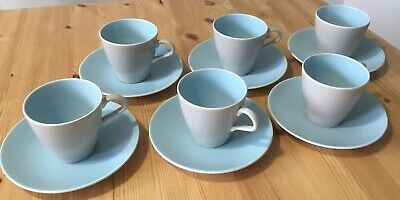 Vintage Poole Pottery- Twintone Sky Blue And Dove Grey Teacups And Saucers • 4.50£