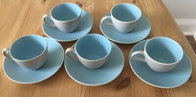 Vintage Poole Pottery- Twintone Sky Blue And Dove Grey Coffee Cups & Saucers GC • 4£