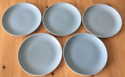 Vintage Poole Pottery- Twintone Sky Blue And Dove Grey Bread & Butter Plates- GC • 4£
