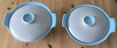 Vintage Poole Pottery- Twintone Sky Blue And Dove Grey Serving Bowl And Lid- GC • 15£