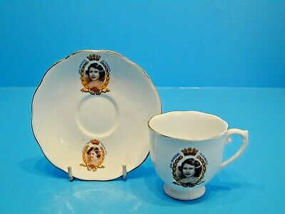 Roslyn China Cup & Saucer - Princess Elizabeth & Princess Margaret Rose • 14.99£