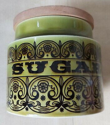 Vintage Hornsea Pottery Scrolls Sugar Container Green • 22.99£
