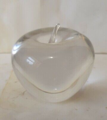 WEDGEWOOD England Vintage Clear Glass APPLE Paperweight Ornament  • 6£