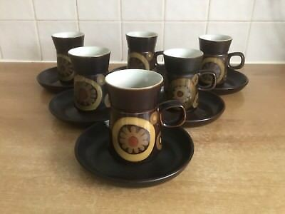 Denby Arabesque 6 X Coffee Cups / Cans And Saucers • 24£