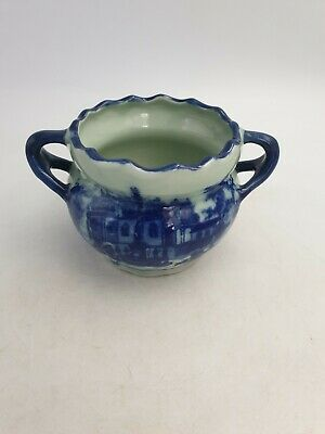 Vintage Victoria Ware Ironstone Flow Blue Double Handled Pot Planter 18thc Scene • 14.99£