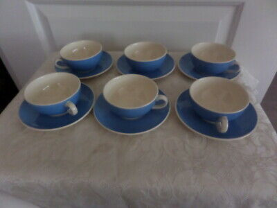 VILLEROY & BOCH SMALL CUPS & SAUCERS X 6 -  BLUE And WHITE - COFFEE? • 24£