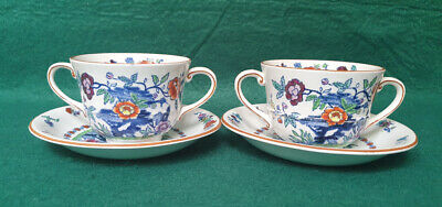 Booths Silicon China 'The Pompadour' Pattern -  Two Handled Cup & Saucer X2 • 7.99£