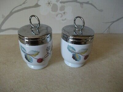Pair Royal Worcester Single Egg Coddlers - Strawberry Fair & Butterfly • 12.99£