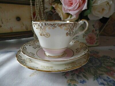Vintage Regency Trio, Pink & Gold, Good Condition, Beautiful • 7.50£