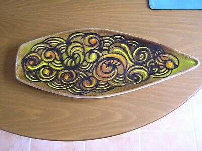 A Poole Pottery Aegean Spear Dish (shape 82): Whorls Pattern: 17.25  Long: Vgc • 5.99£