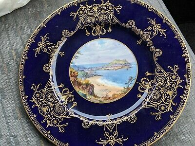 Royal Worcester Cobalt Blue Gold With Hand Painted J Walter L Plate   St Ives  • 149£