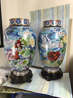 Cloisonne Pair Baluster Vases NM Chinese Swans Floral Motifs On Blue 10  • 195£
