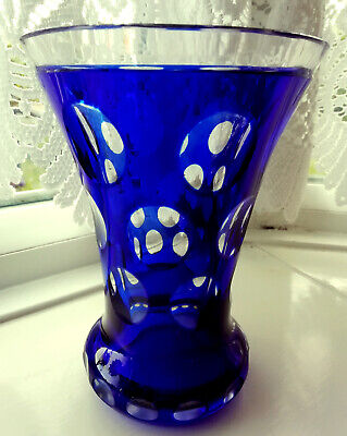Vintage Bohemian Cobalt Blue  Vase With Cut Facets • 5£