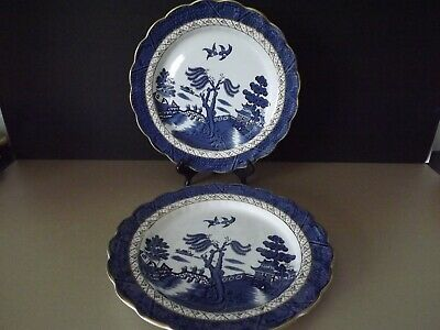 2 Booths Real Old Willow Dinner Plates ~ Gold Rim • 12.99£