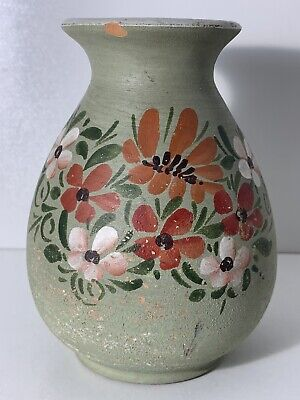 Agios Nikolaos Hand Made Painted Small Vase Pottery Flowers Floral Pattern • 1.49£