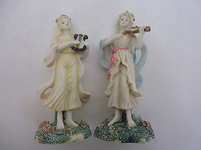 Pair Of Pottery / Resin Detailed Figurine Musicians Pastel Colours Hand Painted  • 2£