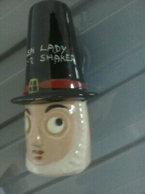 Vintage Antique Pottery Sugar Shaker/Muffineer Welsh Lady Googly  Eyes • 4.50£