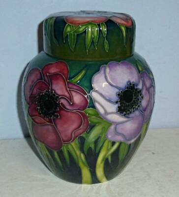 Beautiful MOORCROFT 6 Inch Ginger Jar - ANEMONE TRIBUTE By Emma Bossons 2003 • 199.95£