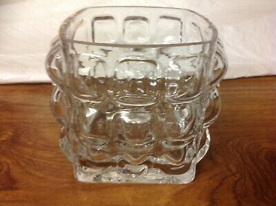 Mid Century Modern Style HEAVY GLASS SQUARE BUBBLE VASE ART GLASS  • 7£