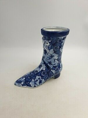 Vintage Regency Ironstone Flow Blue Ceramic Heeled Boot Vase Planter Floral Bow • 26.99£