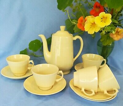 Vintage 40s Woods Ware, Lovely Sunny Yellow  Jasmine  Coffee Pot, Cups, Saucers. • 6.90£