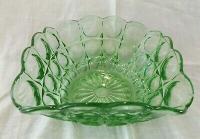 Large Heavy Vintage Square Green Pressed Glass Fruit Bowl - Czech? • 3.50£