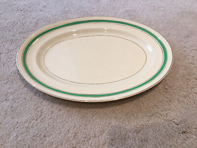 """Vintage Johnson Bros """"Victorian"""" Large Oval Serving Dish Plate Green/Gold • 0.99£"""