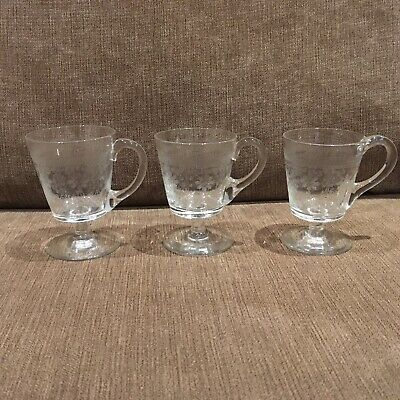 3 X Beautiful Antique Etched Glass Stemmed Custard Cups • 15£