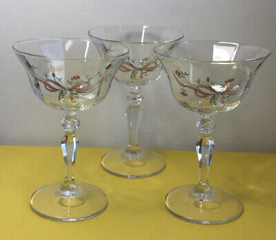 JOHNSON BROTHERS ETERNAL BEAU 3 X Champagne Glass Dessert Vintage Floral Ribbon • 6£