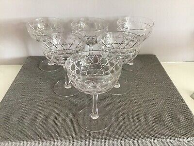 Set Of 6 Antique Cut-Glass/Crystal Champagne Glasses • 3.60£