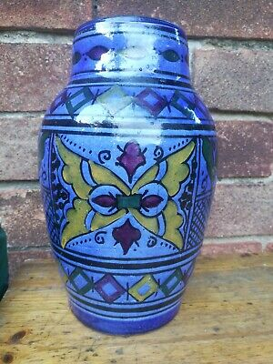 Moroccan Pottery Vase Unusual Blue Colour Signed • 4.99£