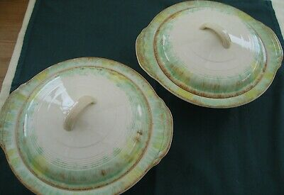 2 Art Deco Lidded Tureen Serving Dishes Woods Ivory Handpainted • 13£